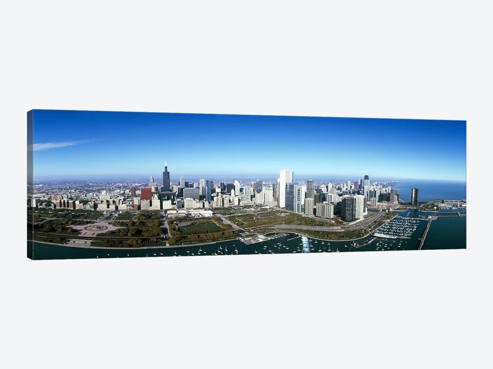 Aerial view of a park in a city, Millennium Park, Lake Michigan, Chicago, Cook County, Illinois, USA #2 by Panoramic Images 1-piece Canvas Print