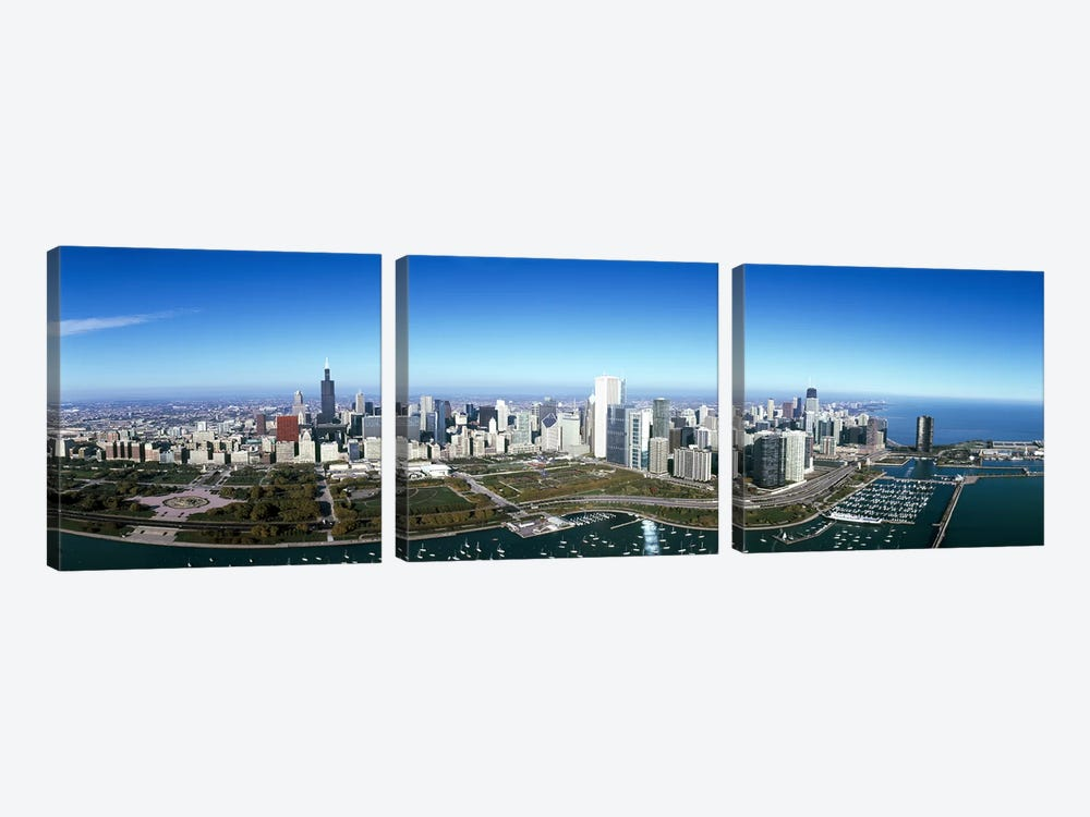 Aerial view of a park in a city, Millennium Park, Lake Michigan, Chicago, Cook County, Illinois, USA #2 by Panoramic Images 3-piece Canvas Print