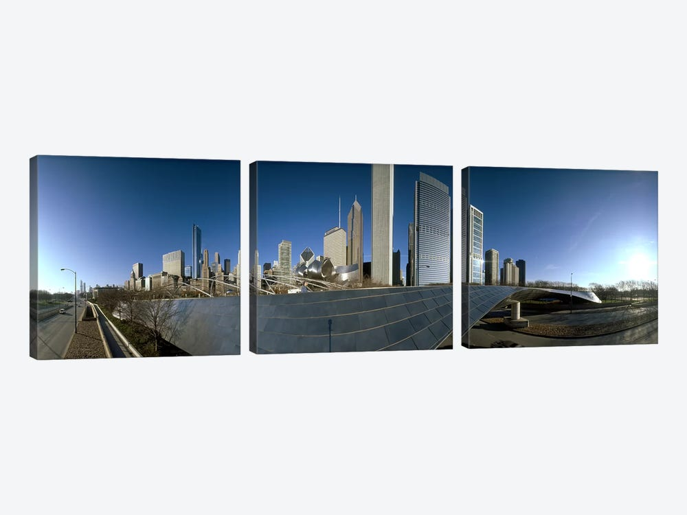 360 degree view of a city, Millennium Park, Jay Pritzker Pavilion, Lake Shore Drive, Chicago, Cook County, Illinois, USA by Panoramic Images 3-piece Canvas Wall Art