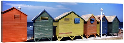 Colorful huts on the beach, St. James Beach, Cape Town, Western Cape Province, South Africa Canvas Print #PIM7979