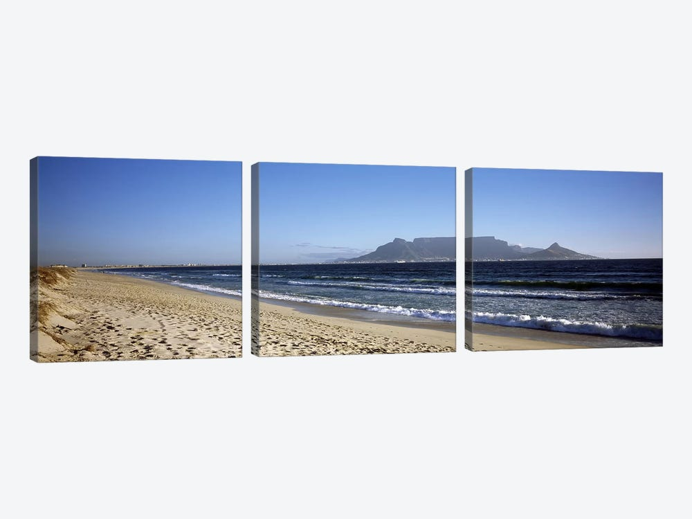 View Of Devil's Peak, Table Mountain And Lion's Head From Bloubergstrand, Western Cape, South Africa by Panoramic Images 3-piece Canvas Wall Art