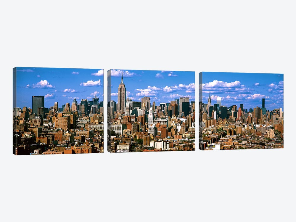 Aerial view of a city, Midtown Manhattan, Manhattan, New York City, New York State, USA by Panoramic Images 3-piece Art Print