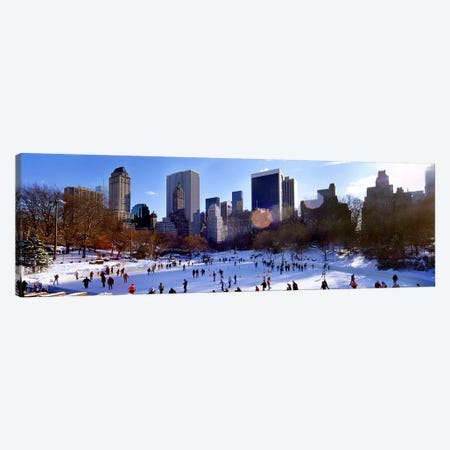 High angle view of people skating in an ice rink, Wollman Rink, Central Park, Manhattan, New York City, New York State, USA Canvas Print #PIM7993} by Panoramic Images Canvas Print