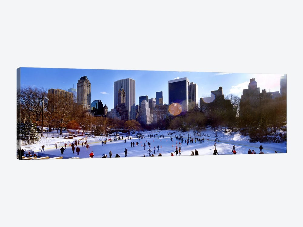 High angle view of people skating in an ice rink, Wollman Rink, Central Park, Manhattan, New York City, New York State, USA by Panoramic Images 1-piece Canvas Wall Art