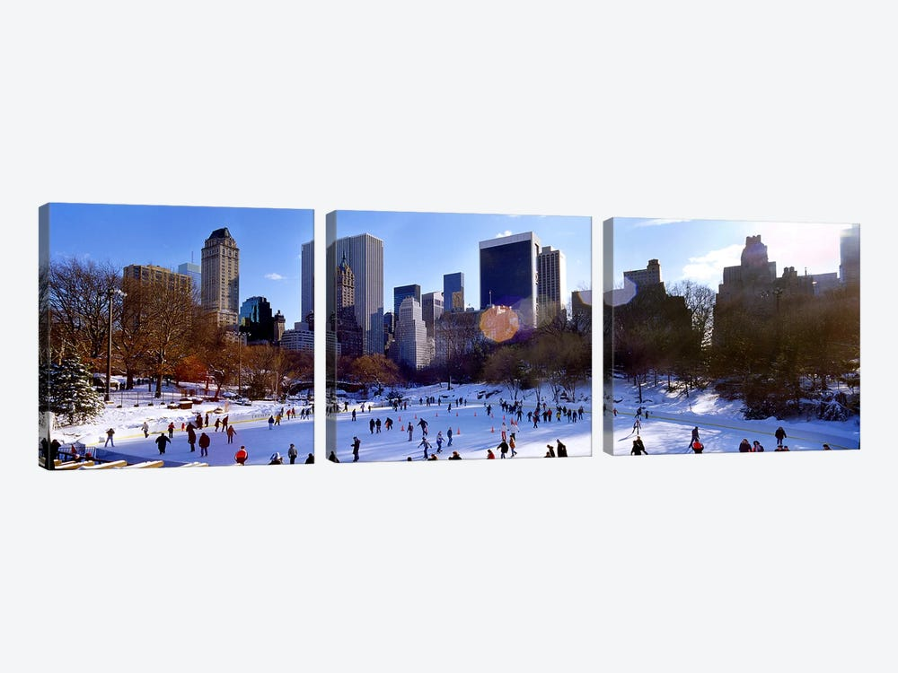 High angle view of people skating in an ice rink, Wollman Rink, Central Park, Manhattan, New York City, New York State, USA by Panoramic Images 3-piece Canvas Artwork