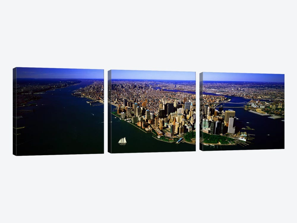 Aerial view of a city, New York City, New York State, USA #6 by Panoramic Images 3-piece Canvas Art Print