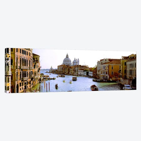 Boats in a canal with a church in the backgroundSanta Maria della Salute, Grand Canal, Venice, Veneto, Italy Canvas Print #PIM8000} by Panoramic Images Canvas Print
