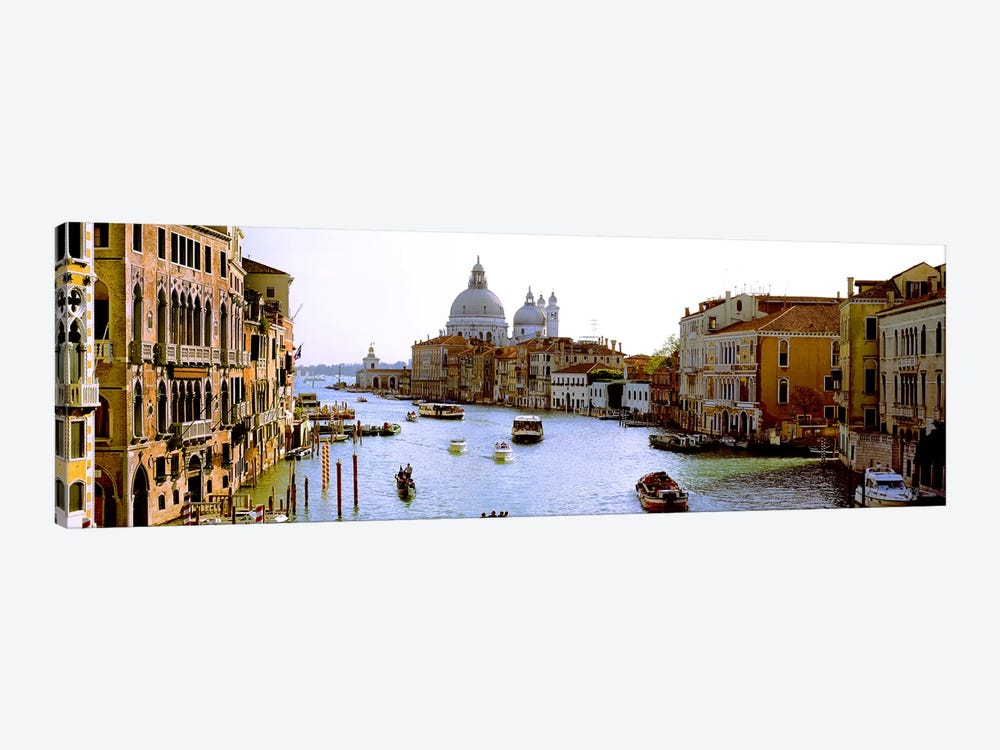 Boats in a canal with a church in the backgroundSanta Maria della Salute, Grand Canal, Venice, Veneto, Italy by Panoramic Images 1-piece Art Print