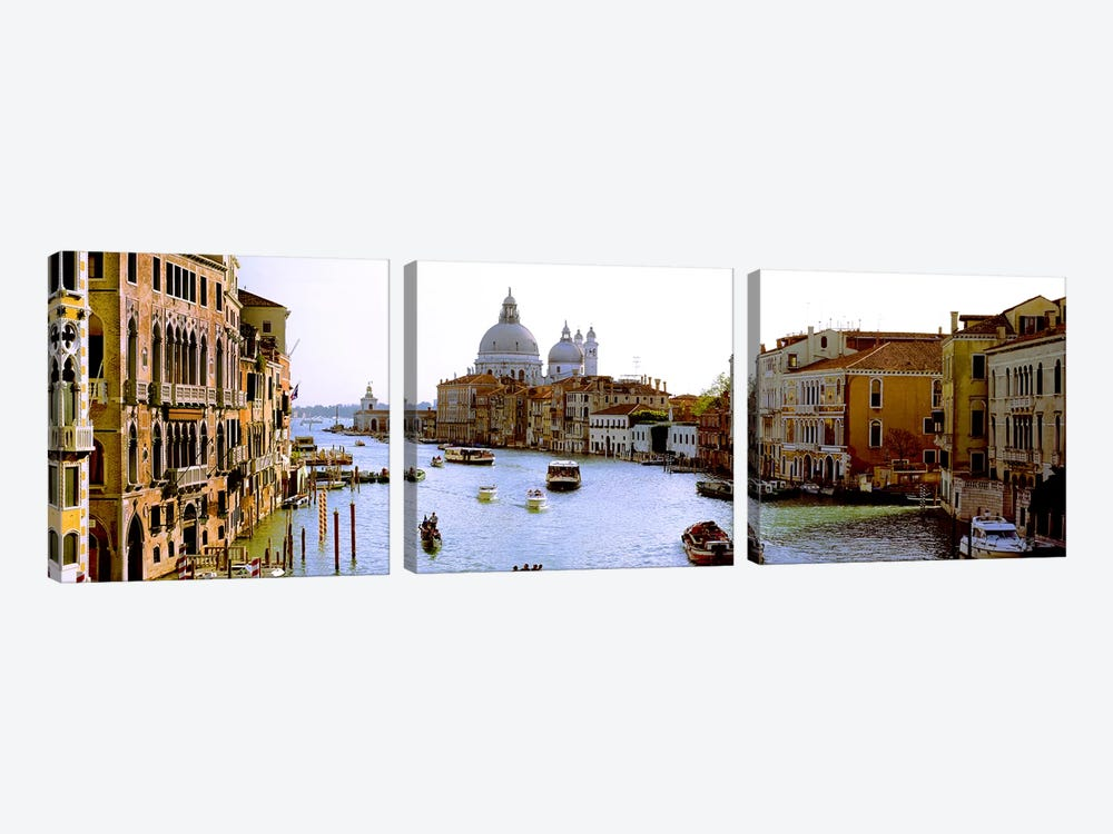 Boats in a canal with a church in the backgroundSanta Maria della Salute, Grand Canal, Venice, Veneto, Italy by Panoramic Images 3-piece Canvas Art Print