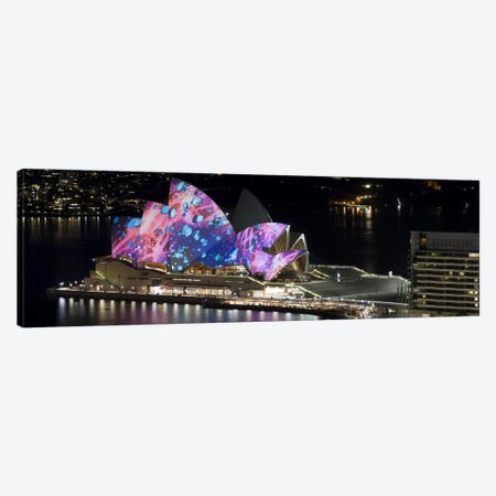Opera house lit up at night, Sydney Opera House, Sydney, New South Wales, Australia Canvas Print #PIM8007} by Panoramic Images Canvas Art