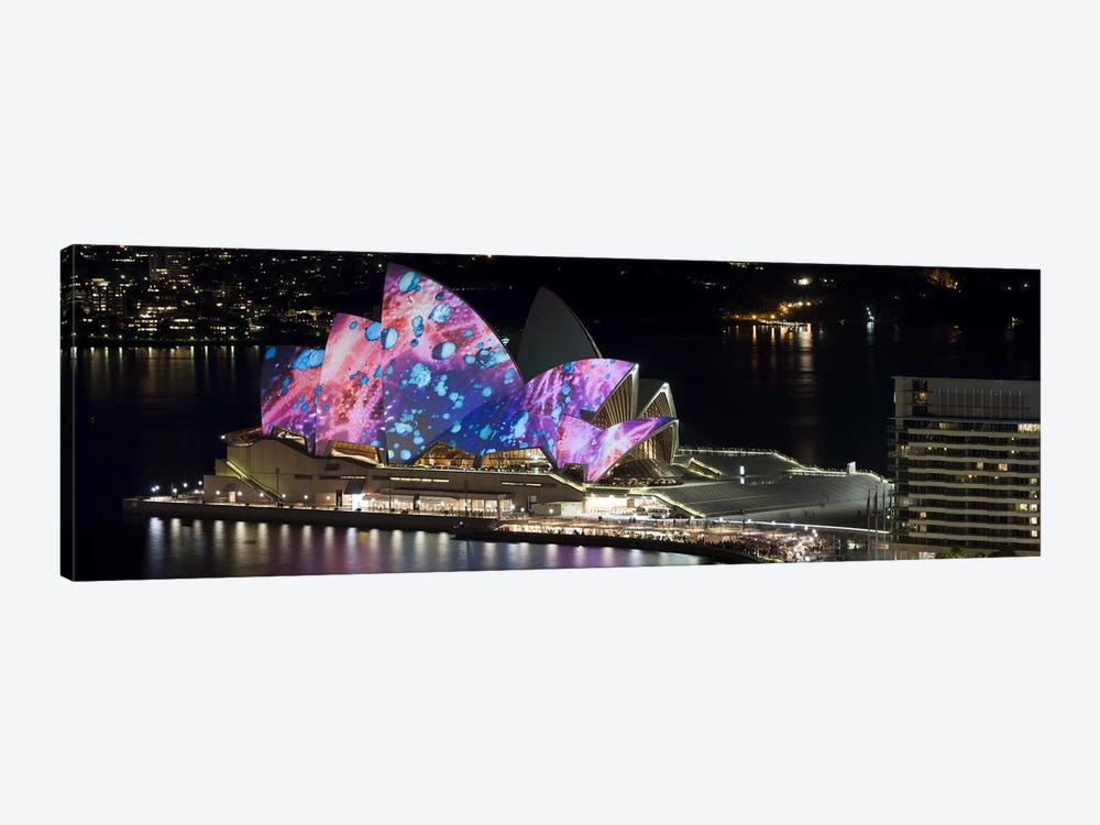 Opera house lit up at night, Sydney Opera House, Sydney, New South Wales, Australia by Panoramic Images 1-piece Canvas Artwork