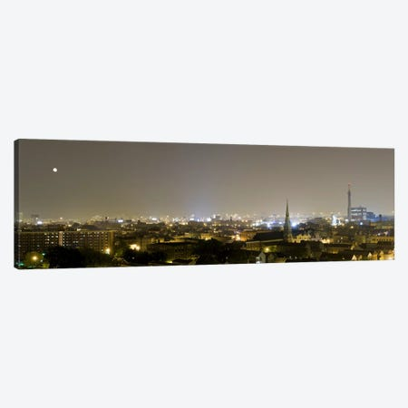 Buildings in a city lit up at night, Pilsen, Chicago, Illinois, USA Canvas Print #PIM8009} by Panoramic Images Art Print