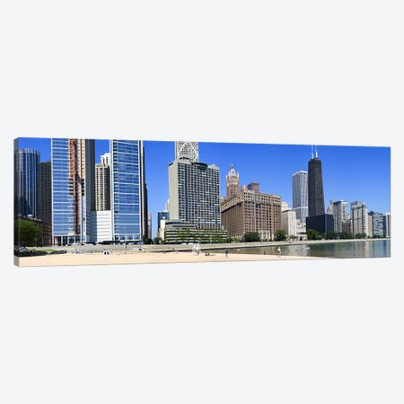 Beach and skyscrapers in a city, Ohio Street Beach, Lake Shore Drive, Lake Michigan, Chicago, Illinois, USA Canvas Print #PIM8010} by Panoramic Images Canvas Wall Art