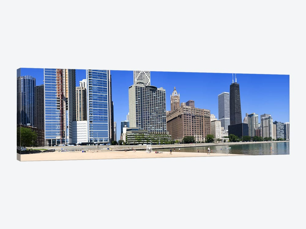 Beach and skyscrapers in a city, Ohio Street Beach, Lake Shore Drive, Lake Michigan, Chicago, Illinois, USA 1-piece Canvas Artwork