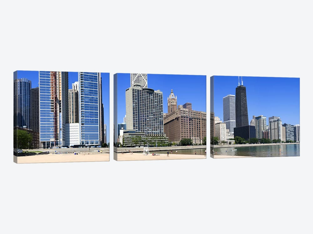Beach and skyscrapers in a city, Ohio Street Beach, Lake Shore Drive, Lake Michigan, Chicago, Illinois, USA 3-piece Canvas Art