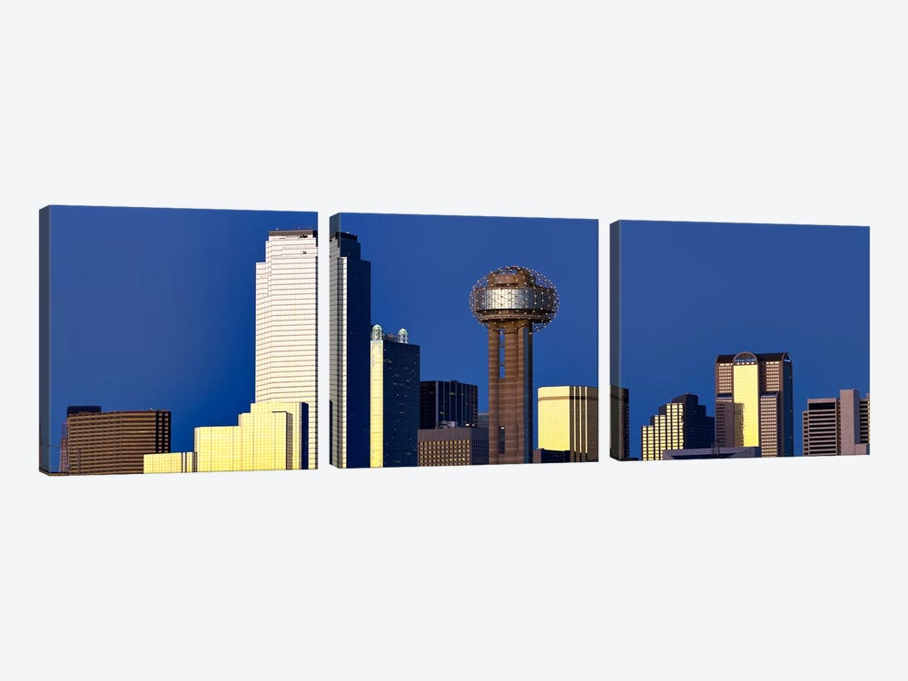 Skyscrapers in a city, Reunion Tower, Dallas, Texas, USA 3-piece Art Print