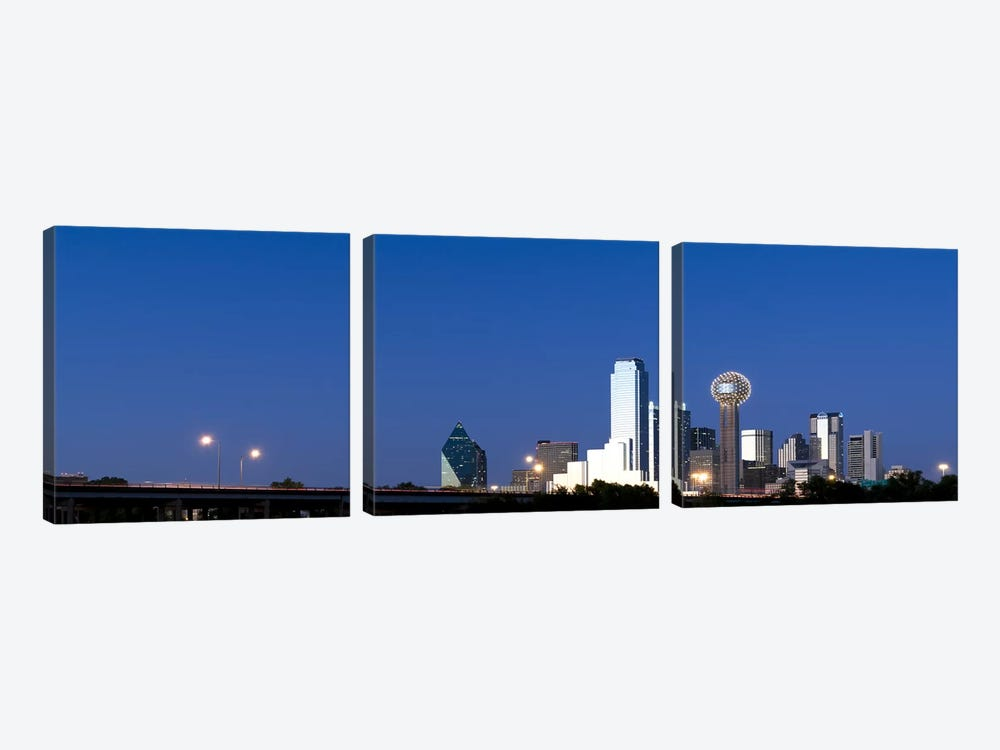 Skyscrapers in a city, Reunion Tower, Dallas, Texas, USA #3 by Panoramic Images 3-piece Canvas Art Print