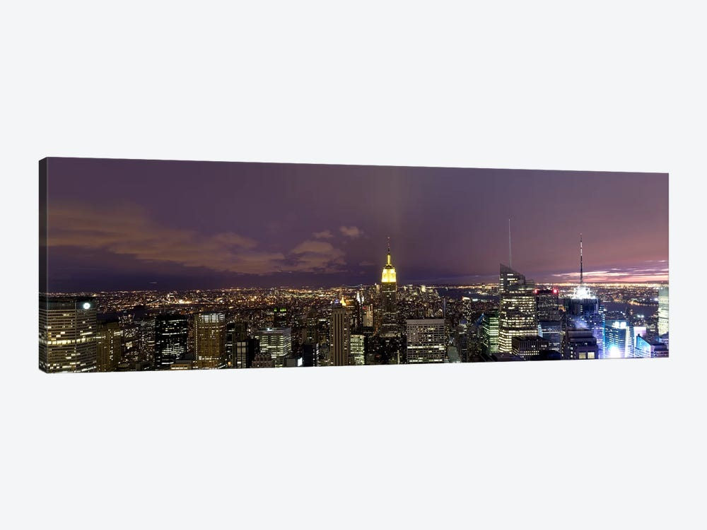 Buildings in a city lit up at dusk, Midtown Manhattan, Manhattan, New York City, New York State, USA by Panoramic Images 1-piece Canvas Art Print