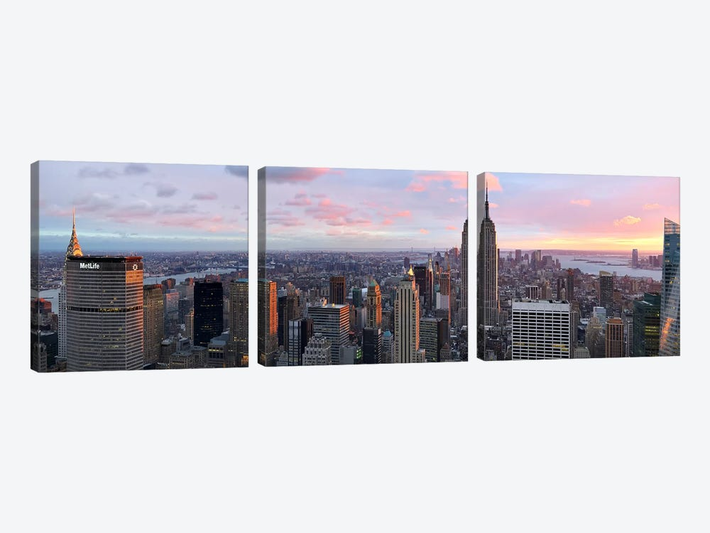 Aerial view of a city, Midtown Manhattan, Manhattan, New York City, New York State, USA #2 by Panoramic Images 3-piece Canvas Artwork
