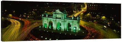 High-Angle View Of Puerta de Alcala, Plaza de la Independencia, Madrid, Spain Canvas Art Print