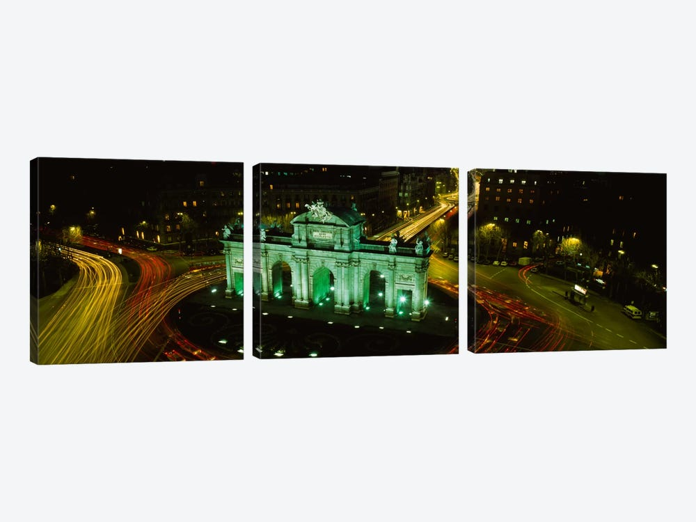 High-Angle View Of Puerta de Alcala, Plaza de la Independencia, Madrid, Spain by Panoramic Images 3-piece Canvas Artwork