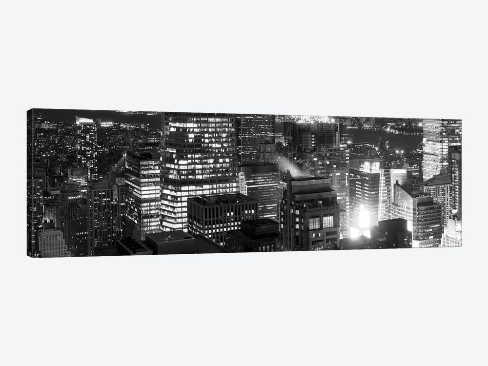 Aerial view of a city at night, Midtown Manhattan, Manhattan, New York City, New York State, USA by Panoramic Images 1-piece Canvas Print