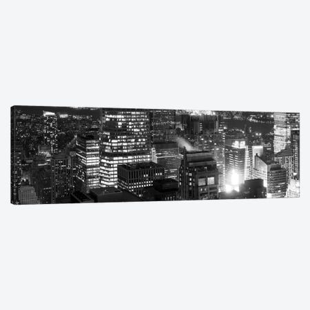 Aerial view of a city at night, Midtown Manhattan, Manhattan, New York City, New York State, USA Canvas Print #PIM8020} by Panoramic Images Art Print