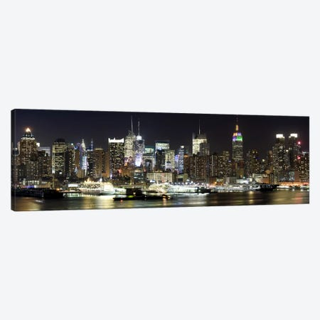 Buildings in a city lit up at night, Hudson River, Midtown Manhattan, Manhattan, New York City, New York State, USA Canvas Print #PIM8021} by Panoramic Images Art Print