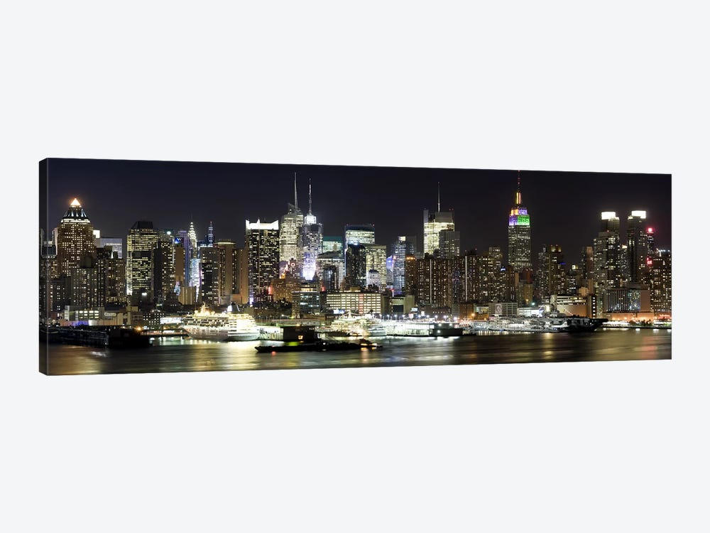 Buildings in a city lit up at night, Hudson River, Midtown Manhattan, Manhattan, New York City, New York State, USA by Panoramic Images 1-piece Canvas Wall Art