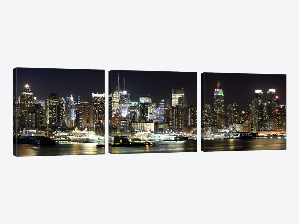 Buildings in a city lit up at night, Hudson River, Midtown Manhattan, Manhattan, New York City, New York State, USA by Panoramic Images 3-piece Canvas Wall Art