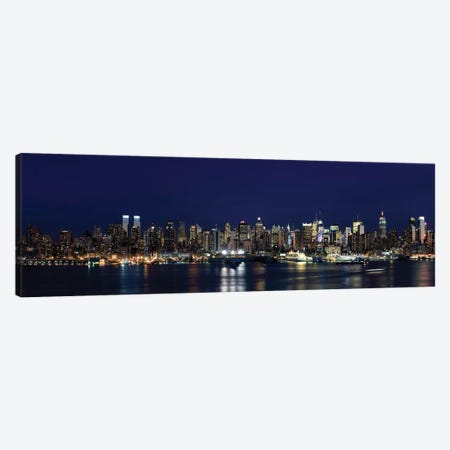 Buildings in a city lit up at dusk, Hudson River, Midtown Manhattan, Manhattan, New York City, New York State, USA Canvas Print #PIM8022} by Panoramic Images Canvas Print