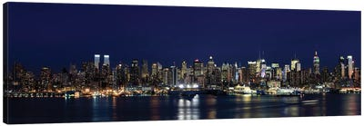 Buildings in a city lit up at dusk, Hudson River, Midtown Manhattan, Manhattan, New York City, New York State, USA Canvas Print #PIM8022