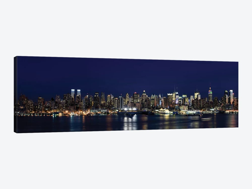 Buildings in a city lit up at dusk, Hudson River, Midtown Manhattan, Manhattan, New York City, New York State, USA by Panoramic Images 1-piece Canvas Print