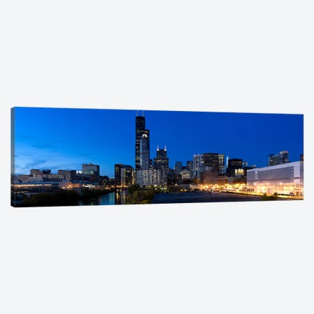 Buildings in a city lit up at dusk, Chicago, Illinois, USA Canvas Print #PIM8023} by Panoramic Images Art Print