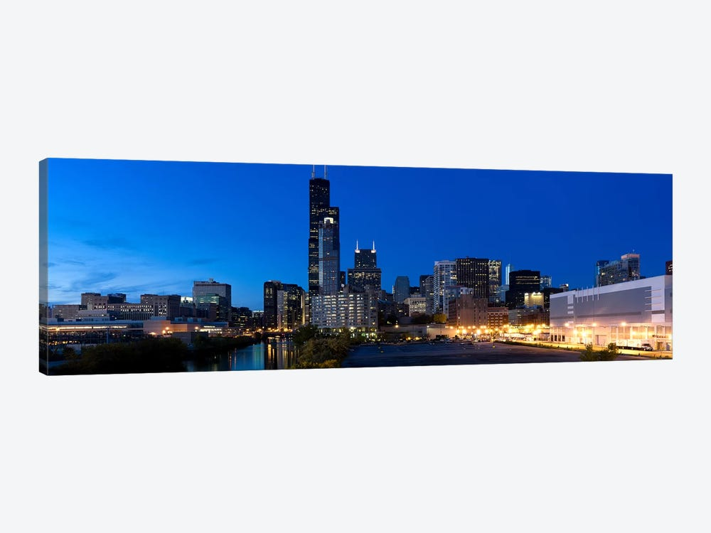 Buildings in a city lit up at dusk, Chicago, Illinois, USA by Panoramic Images 1-piece Canvas Art