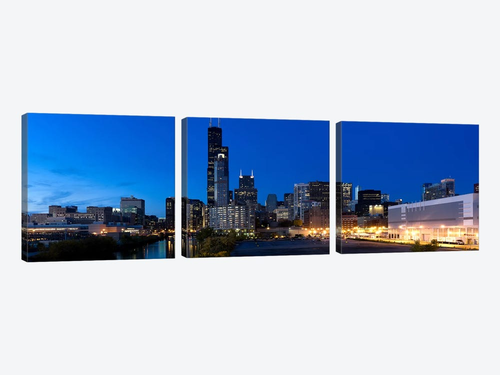 Buildings in a city lit up at dusk, Chicago, Illinois, USA by Panoramic Images 3-piece Canvas Artwork
