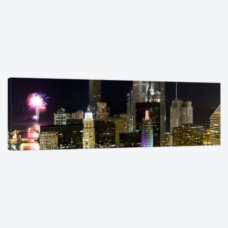 Skyscrapers and firework display in a city at night, Lake Michigan, Chicago, Illinois, USA Canvas Print #PIM8024} by Panoramic Images Canvas Artwork