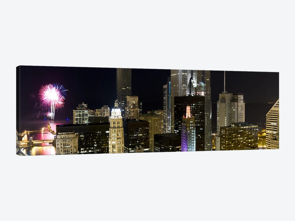 Skyscrapers and firework display in a city at night, Lake Michigan, Chicago, Illinois, USA by Panoramic Images 1-piece Art Print
