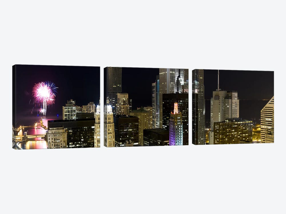 Skyscrapers and firework display in a city at night, Lake Michigan, Chicago, Illinois, USA by Panoramic Images 3-piece Canvas Art Print