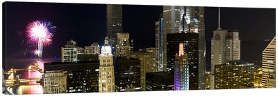 Skyscrapers and firework display in a city at night, Lake Michigan, Chicago, Illinois, USA Canvas Art Print