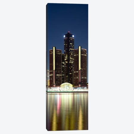 Skyscrapers lit up at dusk, Renaissance Center, Detroit River, Detroit, Michigan, USA Canvas Print #PIM8025} by Panoramic Images Canvas Artwork