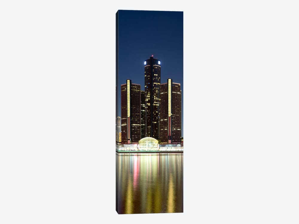 Skyscrapers lit up at dusk, Renaissance Center, Detroit River, Detroit, Michigan, USA by Panoramic Images 1-piece Canvas Artwork