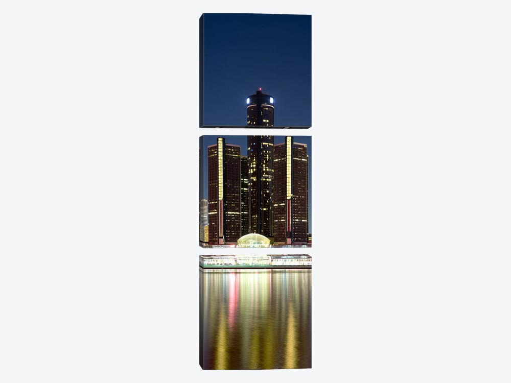 Skyscrapers lit up at dusk, Renaissance Center, Detroit River, Detroit, Michigan, USA by Panoramic Images 3-piece Canvas Artwork