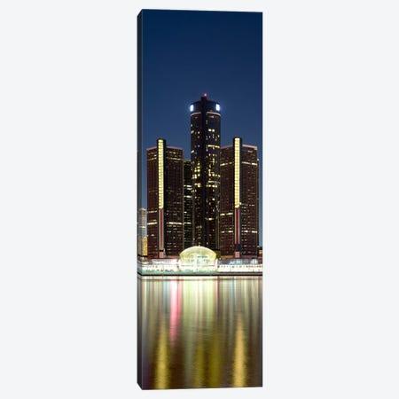 Skyscrapers lit up at dusk, Renaissance Center, Detroit River, Detroit, Michigan, USA Canvas Print #PIM8025} by Panoramic Images Canvas Artwork