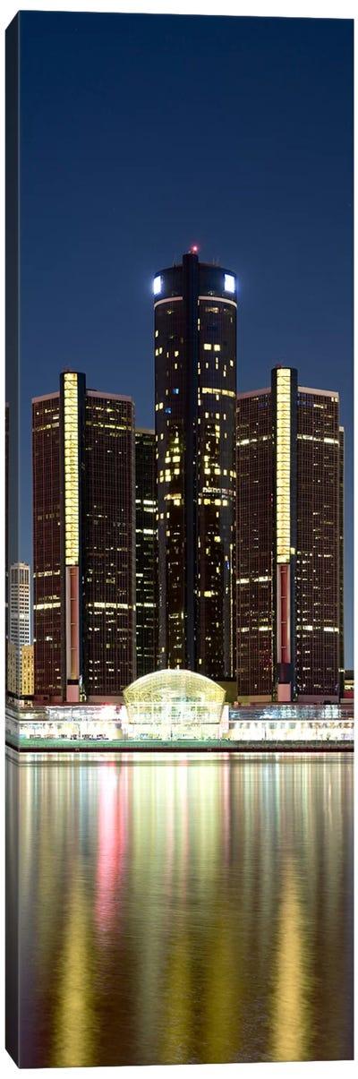 Skyscrapers lit up at dusk, Renaissance Center, Detroit River, Detroit, Michigan, USA Canvas Art Print