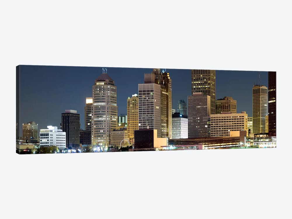Buildings in a city lit up at night, Detroit River, Detroit, Michigan, USA by Panoramic Images 1-piece Canvas Artwork