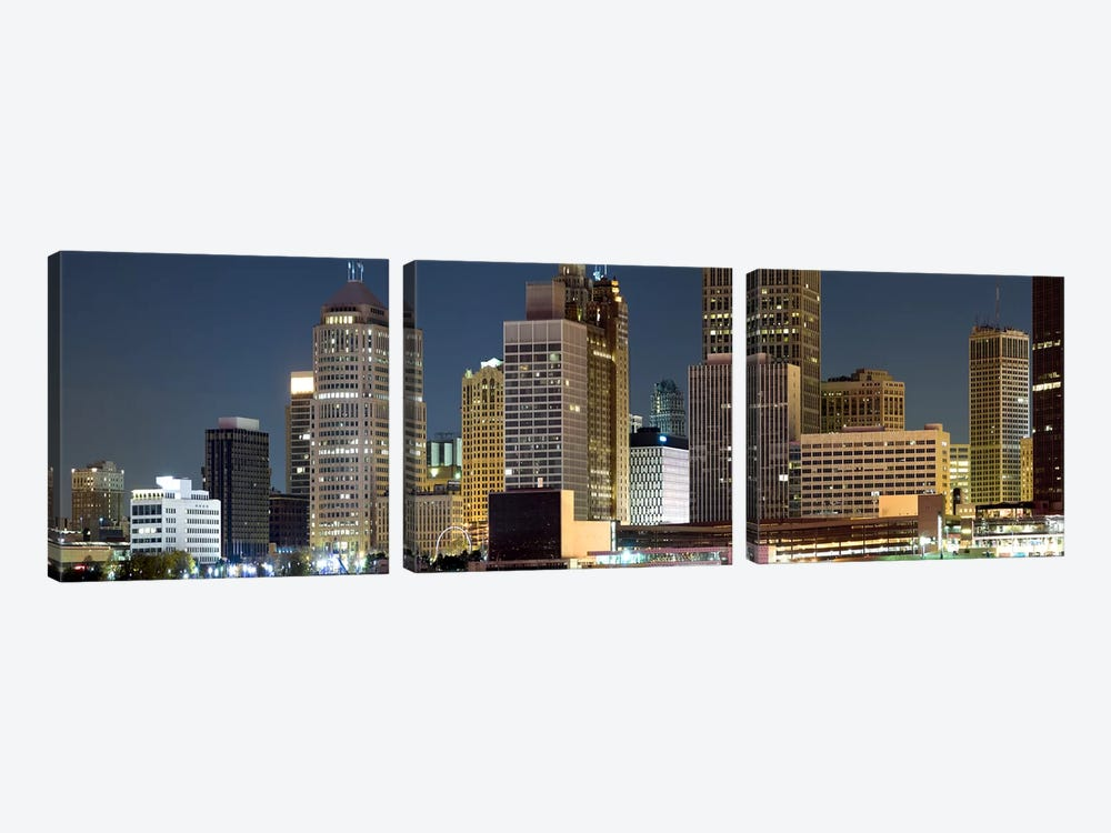 Buildings in a city lit up at night, Detroit River, Detroit, Michigan, USA by Panoramic Images 3-piece Canvas Art