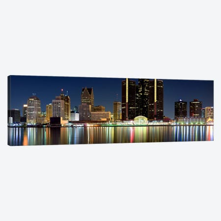 Buildings in a city lit up at night, Detroit River, Detroit, Michigan, USA #2 Canvas Print #PIM8028} by Panoramic Images Canvas Print