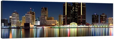 Buildings in a city lit up at night, Detroit River, Detroit, Michigan, USA #2 Canvas Art Print