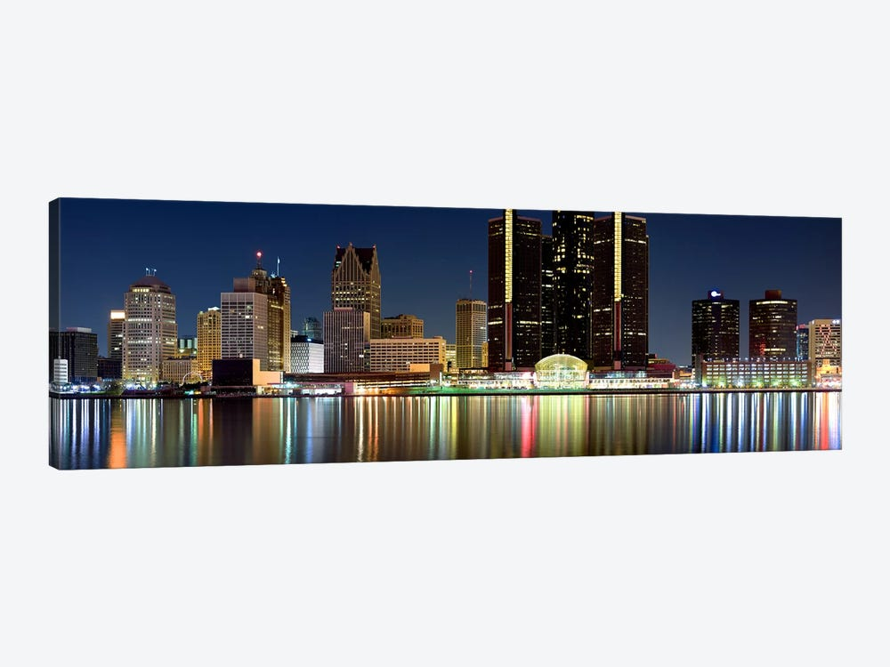 Buildings in a city lit up at night, Detroit River, Detroit, Michigan, USA #2 by Panoramic Images 1-piece Canvas Print